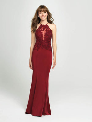 Madison James 19-153 prom dress images.  Madison James 19-153 is available in these colors: Black, Burgundy, Ivory.
