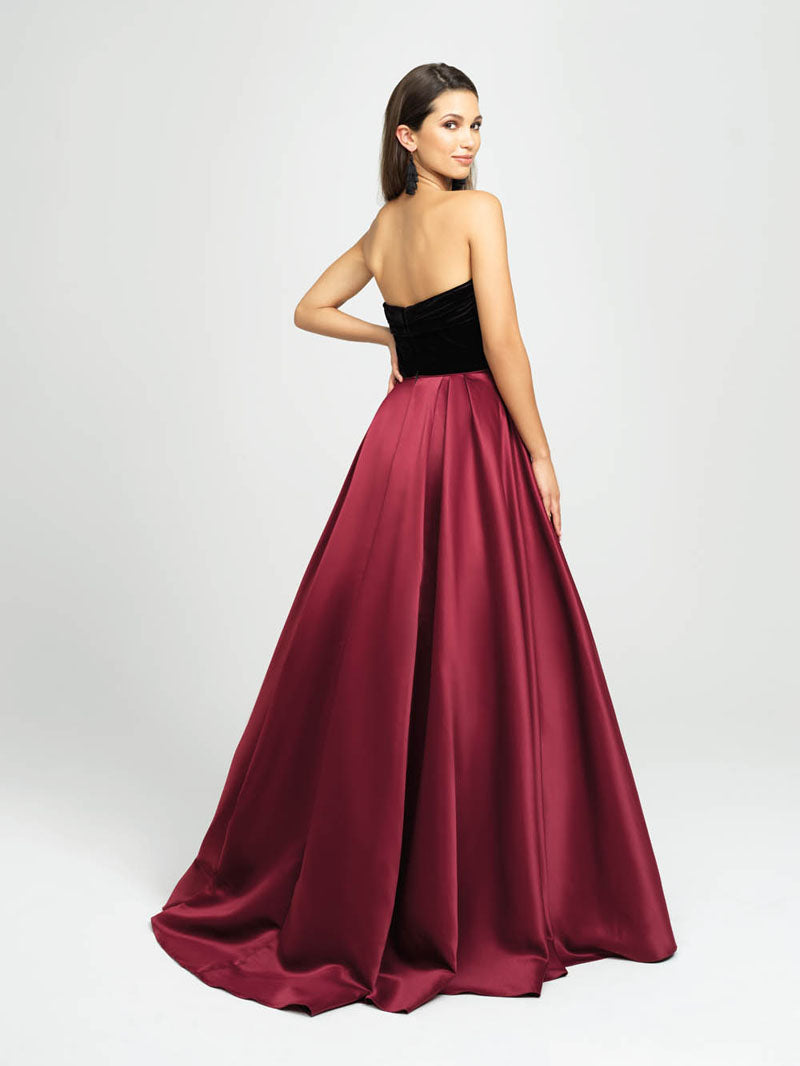 Madison James 19-155 prom dress images.  Madison James 19-155 is available in these colors: Black White, Black Black, Black Burgundy.