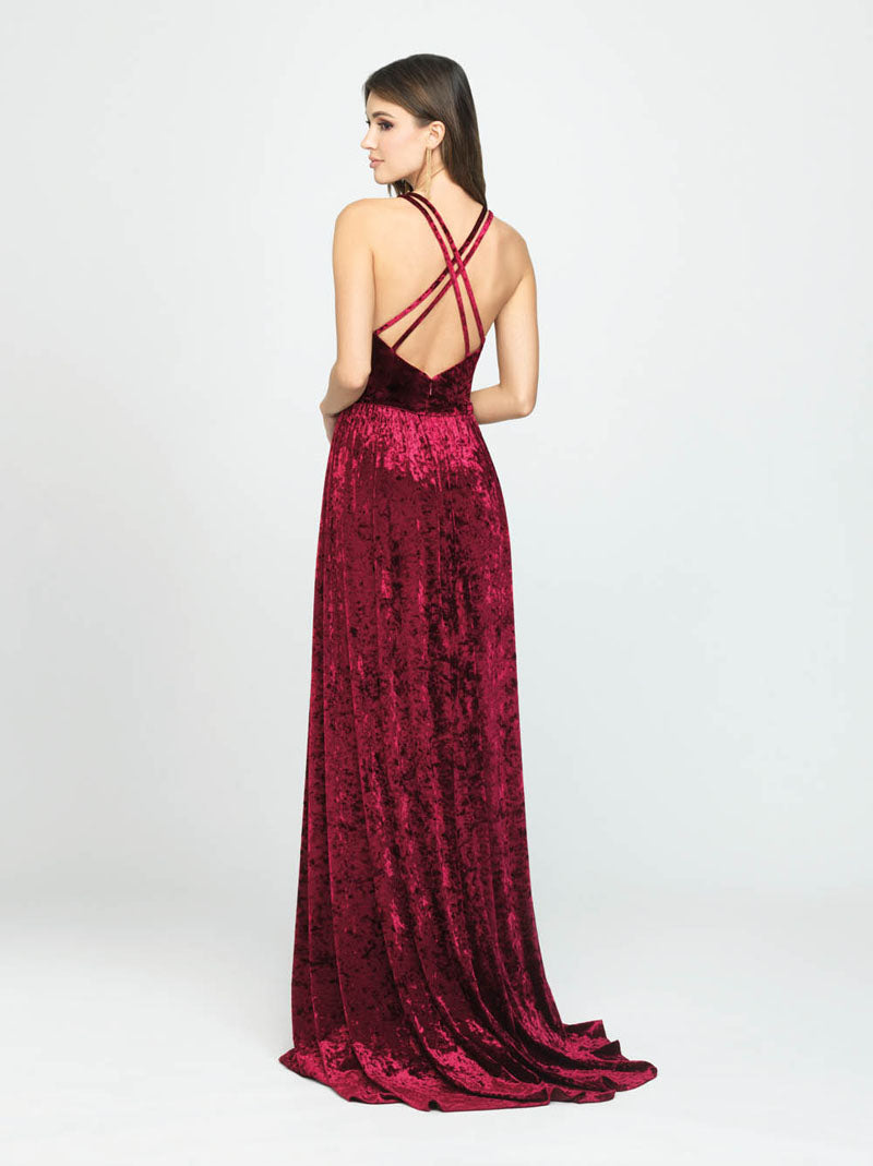Madison James 19-156 prom dress images.  Madison James 19-156 is available in these colors: Wine, Navy, Dark Green.