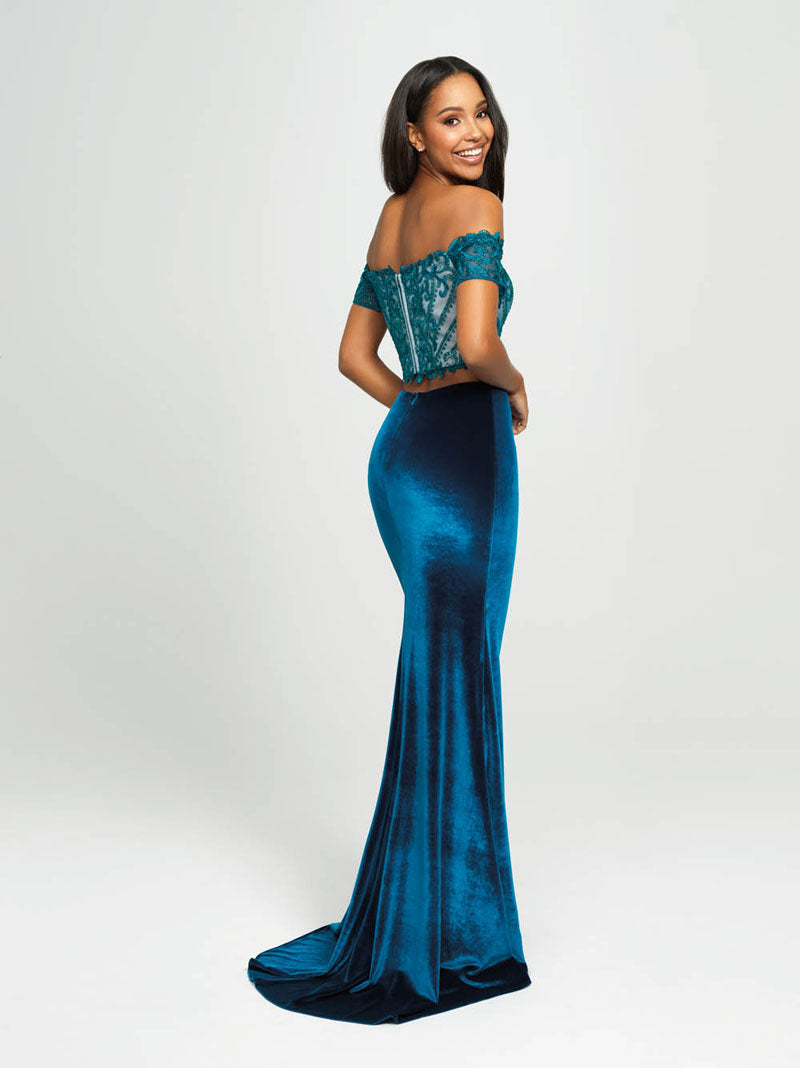 Madison James 19-157 prom dress images.  Madison James 19-157 is available in these colors: Burgundy, Teal, Purple, Black.