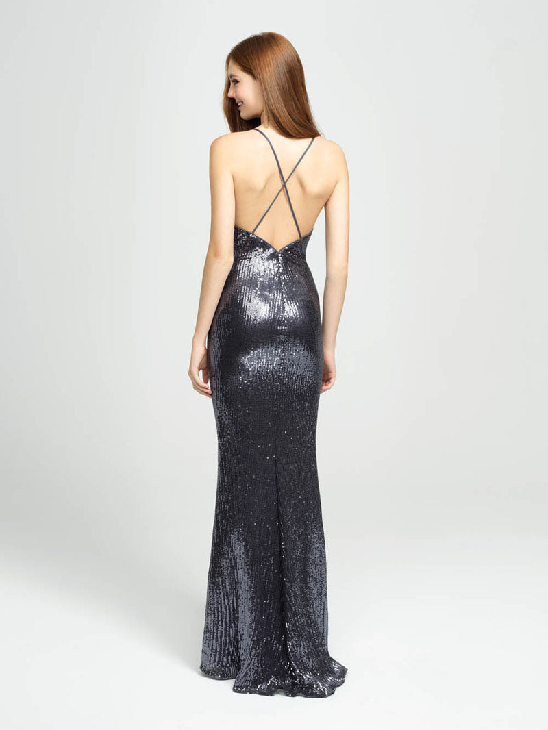 Madison James 19-158 prom dress images.  Madison James 19-158 is available in these colors: Charcoal, Gold, Purple.