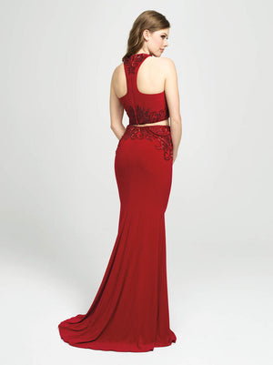 Madison James 19-165 prom dress images.  Madison James 19-165 is available in these colors: Teal, Black, Red.