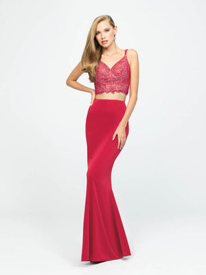 Madison James 19-167 prom dress images.  Madison James 19-167 is available in these colors: Coffee, Navy, Red, Peach, Coral.