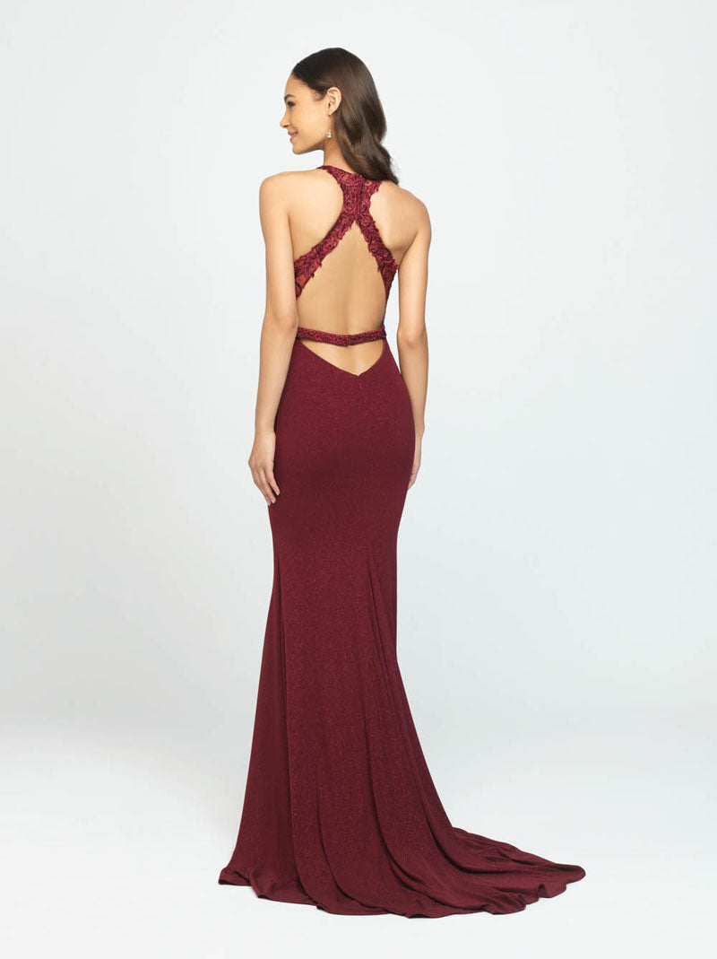 Madison James 19-168 prom dress images.  Madison James 19-168 is available in these colors: Wine, Navy, Fuchsia.