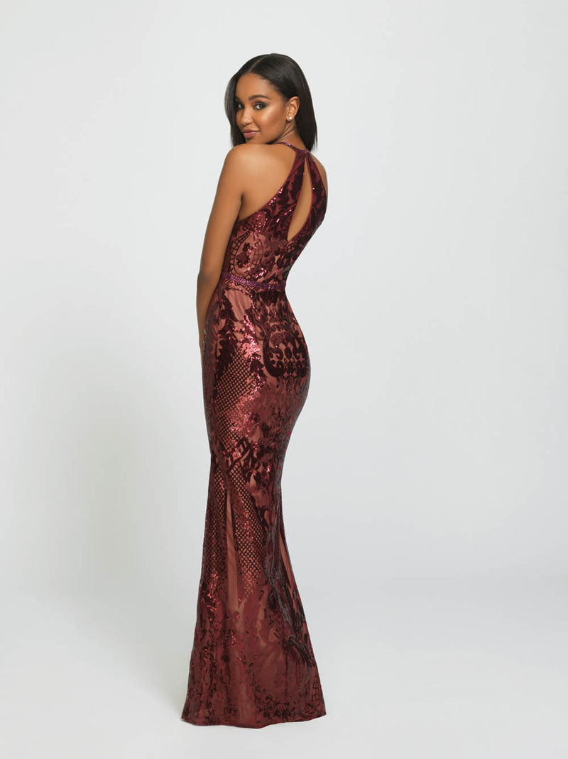 Madison James 19-173 prom dress images.  Madison James 19-173 is available in these colors: Black, Wine, Ivory.