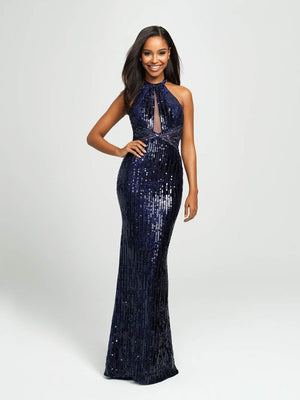 Madison James 19-179 prom dress images.  Madison James 19-179 is available in these colors: Navy, Rose.