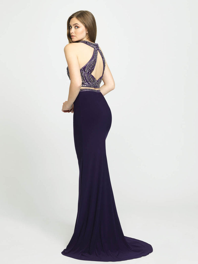 Madison James 19-180 prom dress images.  Madison James 19-180 is available in these colors: Purple, Navy, Black.
