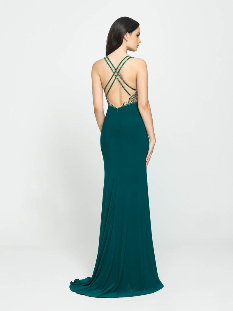 Madison James 19-187 prom dress images.  Madison James 19-187 is available in these colors: Fuchsia, Royal, Emerald.