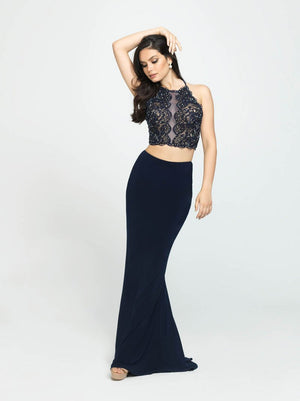Madison James 19-189 prom dress images.  Madison James 19-189 is available in these colors: Black, Navy, Eggplant.