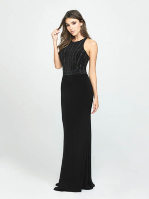 Madison James 19-197 prom dress images.  Madison James 19-197 is available in these colors: Peach, Gunmetal, Black.