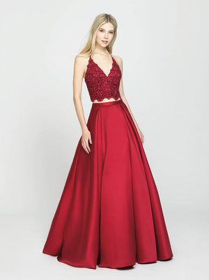 Madison James 19-198 prom dress images.  Madison James 19-198 is available in these colors: Ivory, Wine, Black.