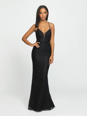 Madison James 19-199 prom dress images.  Madison James 19-199 is available in these colors: Black, Red.
