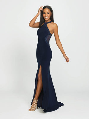 Madison James 19-203 prom dress images.  Madison James 19-203 is available in these colors: Navy, Black, Red.