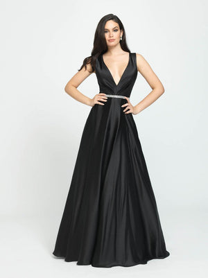 Madison James 19-204 prom dress images.  Madison James 19-204 is available in these colors: Wine, Black, Taupe.