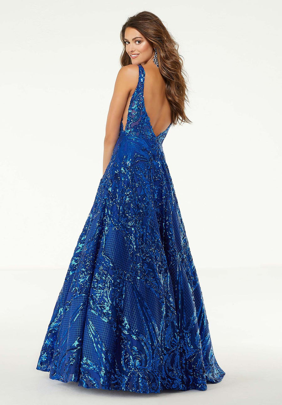 Morilee 45001 prom dress images.  Morilee 45001 is available in these colors: Royal, Aqua, Pink.