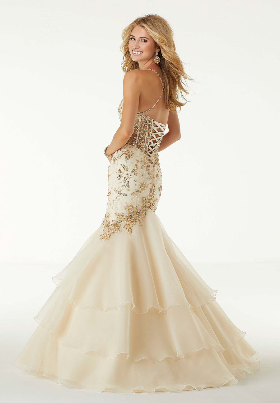Morilee 45002 prom dress images.  Morilee 45002 is available in these colors: Champagne Gold.