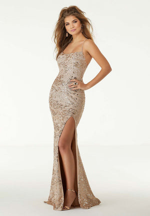 Morilee 45003 prom dress images.  Morilee 45003 is available in these colors: Rose Gold, Purple Gold.