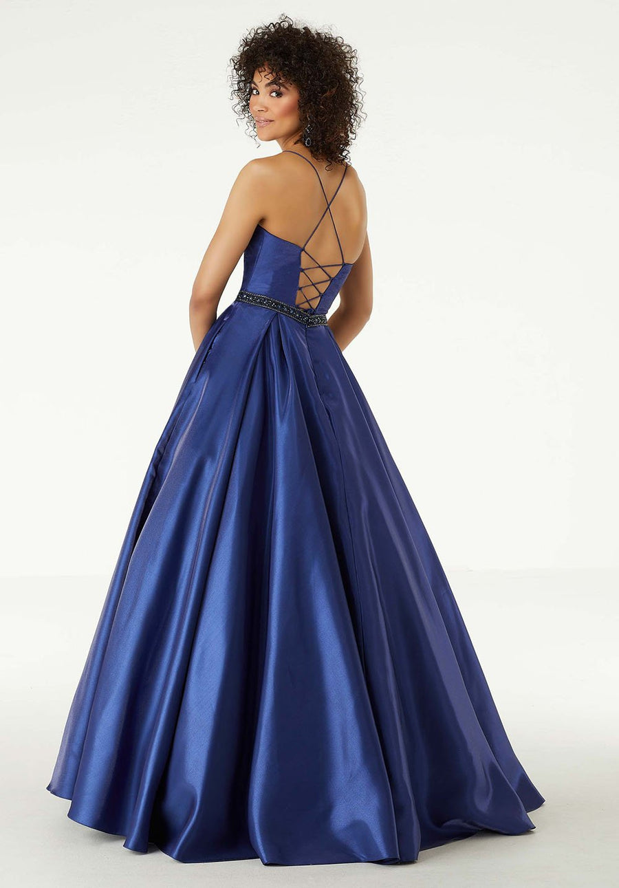Morilee 45007 prom dress images.  Morilee 45007 is available in these colors: Navy, Ivory.