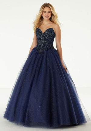 Morilee 45008 prom dress images.  Morilee 45008 is available in these colors: Navy, Blush.