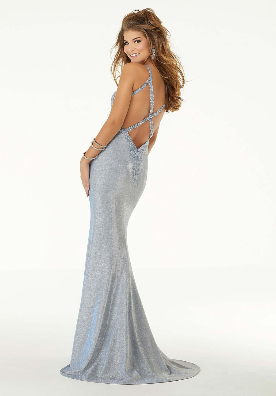 Morilee 45009 prom dress images.  Morilee 45009 is available in these colors: Ice Blue, Vintage Rose.