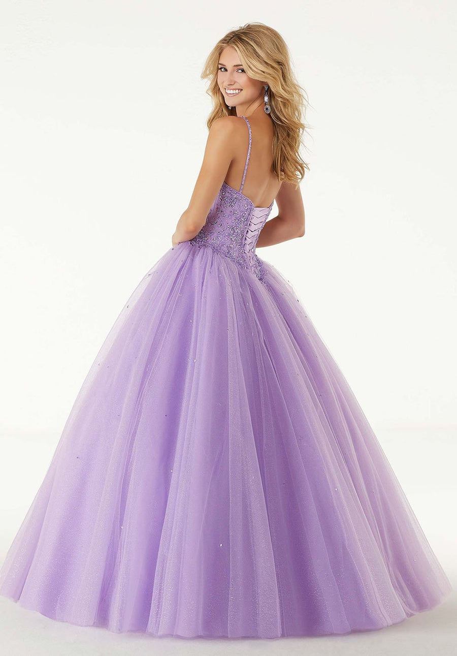 Morilee 45013 prom dress images.  Morilee 45013 is available in these colors: French Blue, Orchid, Lemonade.