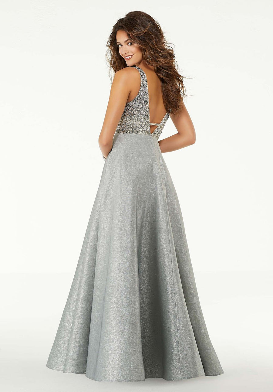 Morilee 45014 prom dress images.  Morilee 45014 is available in these colors: Silver Sky, Blue.