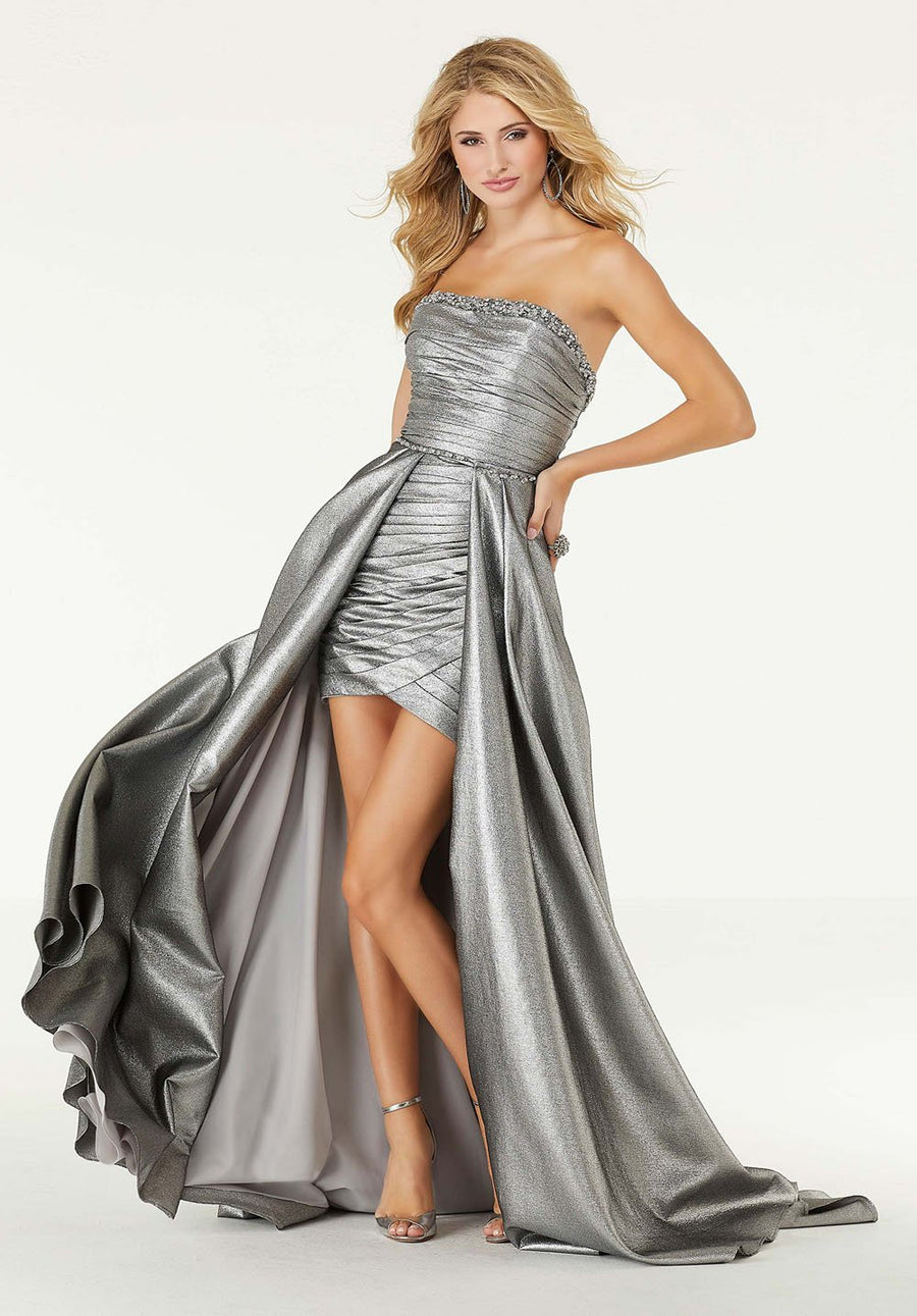 Morilee 45015 prom dress images.  Morilee 45015 is available in these colors: Gunmetal, Bronze.