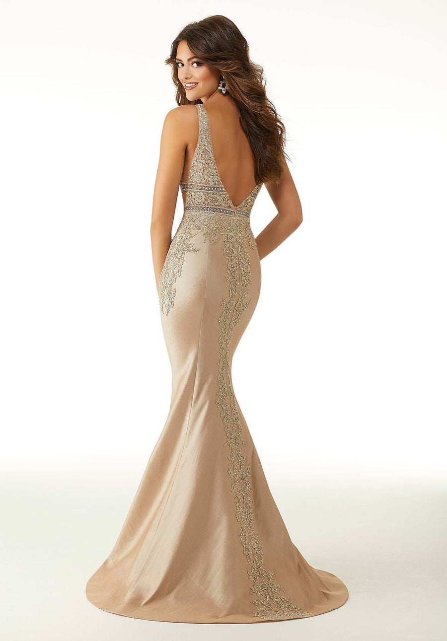 Morilee 45016 prom dress images.  Morilee 45016 is available in these colors: Champagne, Silver.