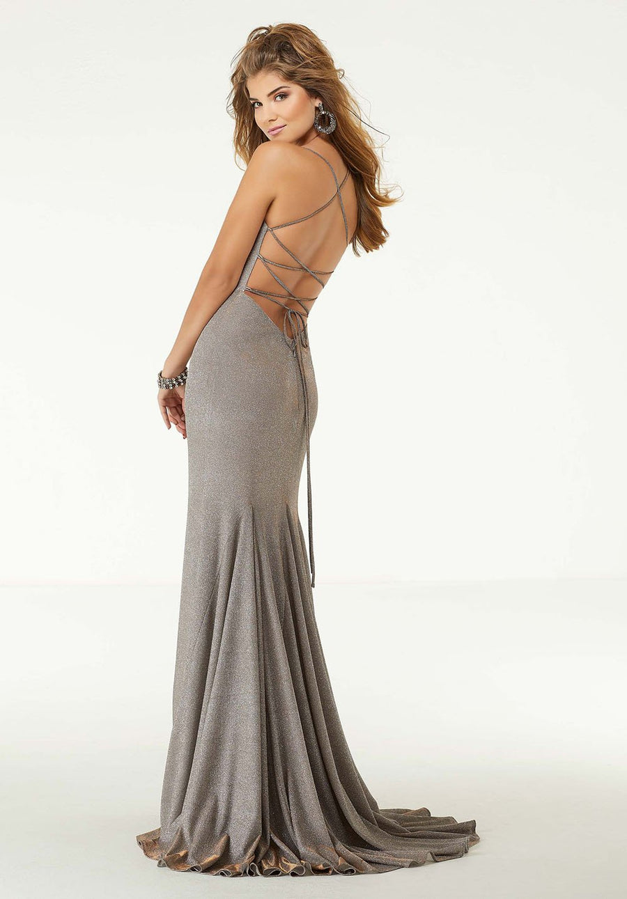 Morilee 45019 prom dress images.  Morilee 45019 is available in these colors: Silver Bronze, Purple Green.