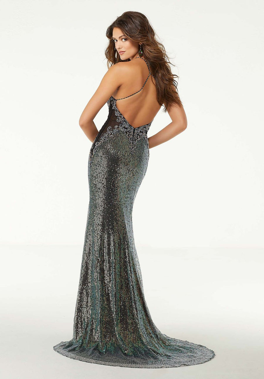 Morilee 45020 prom dress images.  Morilee 45020 is available in these colors: Black Multi, Champagne Multi.