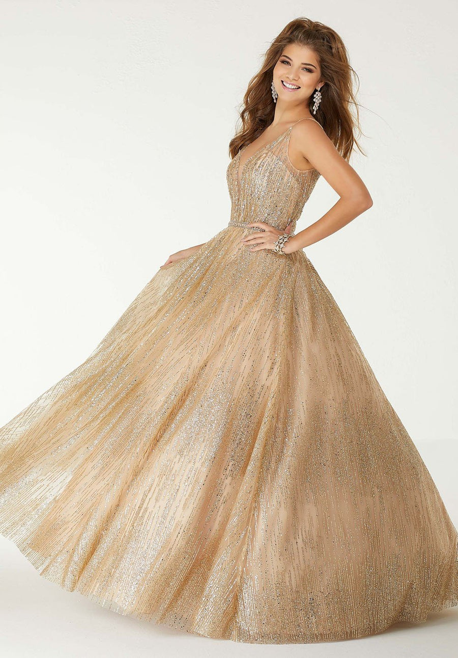 Morilee 45021 prom dress images.  Morilee 45021 is available in these colors: Nude Gold.