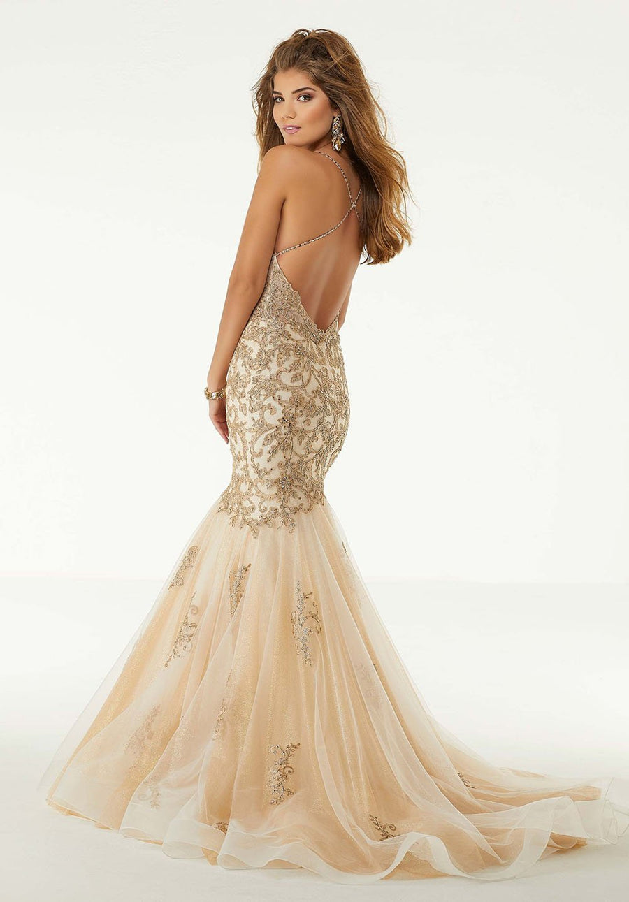Morilee 45022 prom dress images.  Morilee 45022 is available in these colors: Champagne Gold, Black.