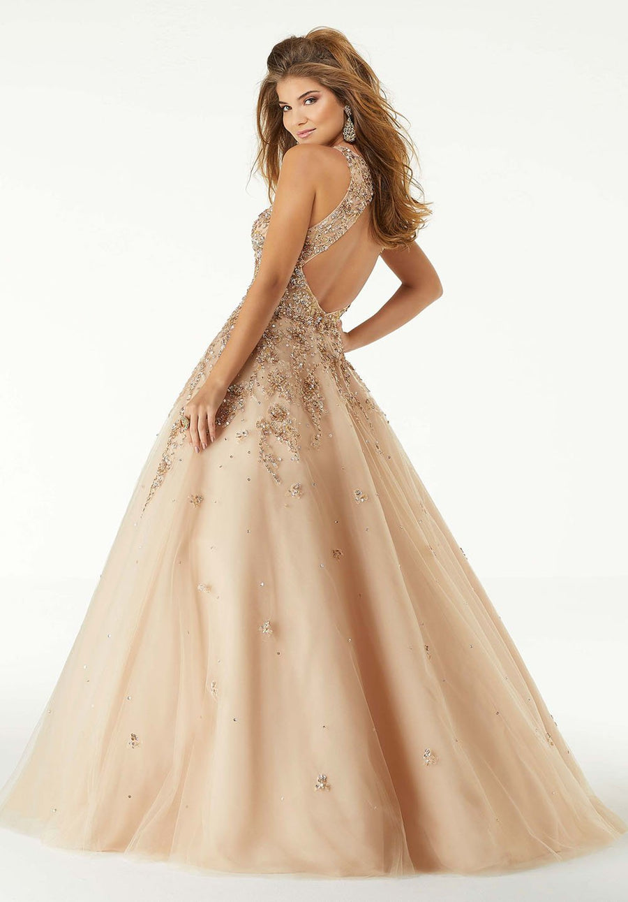 Morilee 45023 prom dress images.  Morilee 45023 is available in these colors: Nude Rose Gold.