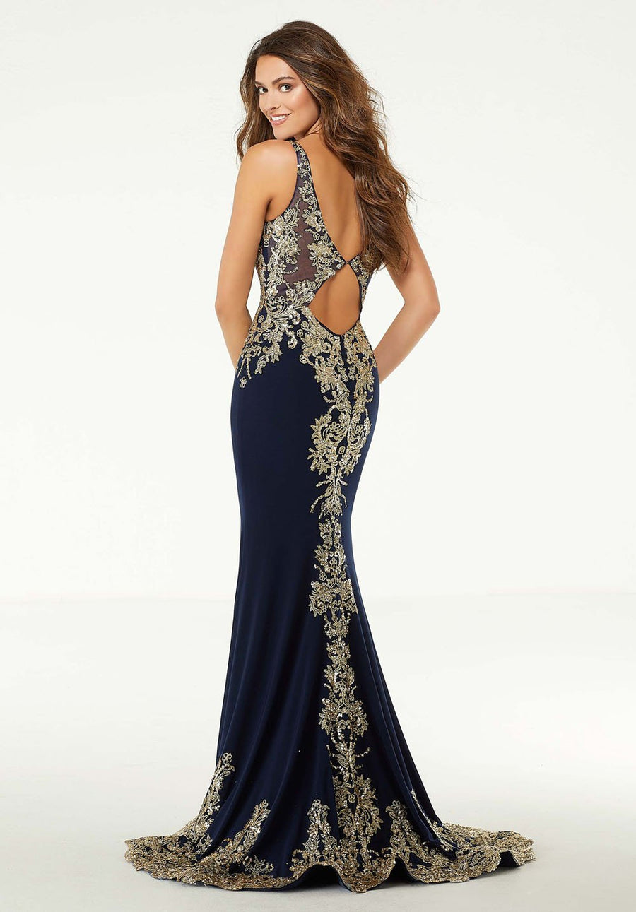 Morilee 45024 prom dress images.  Morilee 45024 is available in these colors: Navy Gold, White Gold.