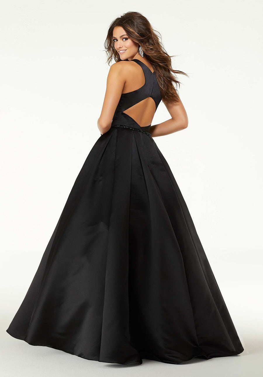 Morilee 45025 prom dress images.  Morilee 45025 is available in these colors: Black, Red, Regal Royal.