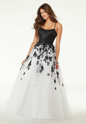 Morilee 45026 prom dress images.  Morilee 45026 is available in these colors: Black White.