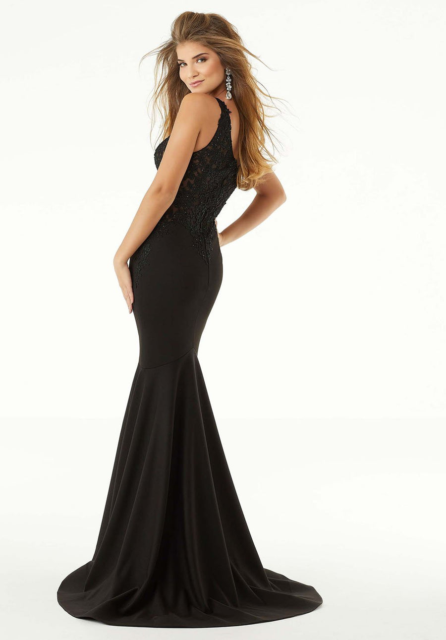 Morilee 45027 prom dress images.  Morilee 45027 is available in these colors: Black, Red.