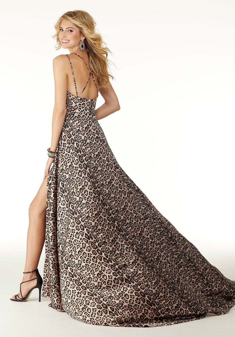 Morilee 45028 prom dress images.  Morilee 45028 is available in these colors: Leopard Black, Leopard Red.