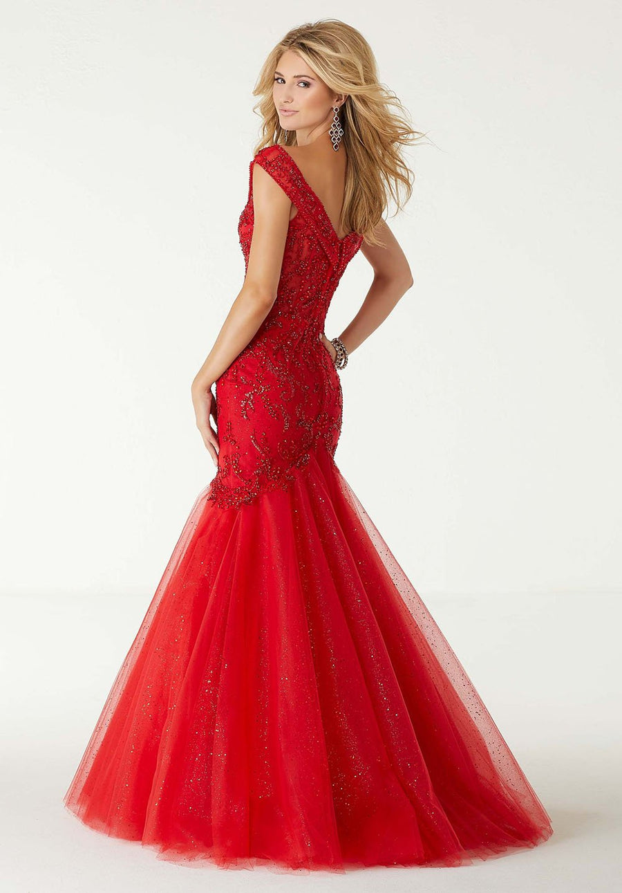 Morilee 45031 prom dress images.  Morilee 45031 is available in these colors: Scarlet, Regal Royal, Black Gold.