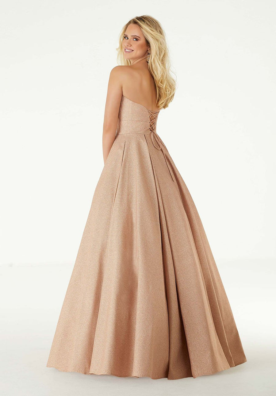 Morilee 45032 prom dress images.  Morilee 45032 is available in these colors: Rose Gold, Royal.