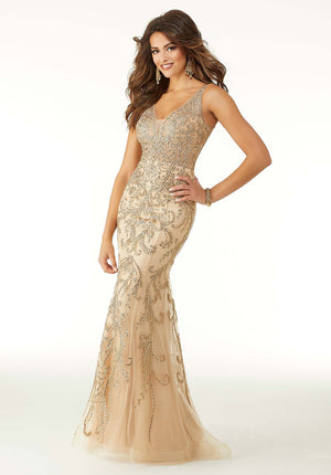 Morilee 45033 prom dress images.  Morilee 45033 is available in these colors: Nude Gold, Red.