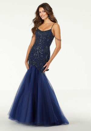 Morilee 45042 prom dress images.  Morilee 45042 is available in these colors: Navy, Sangria.