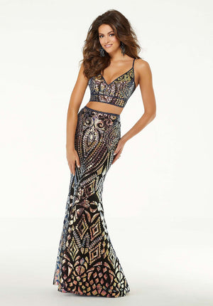 Morilee 45044 prom dress images.  Morilee 45044 is available in these colors: Black Multi.