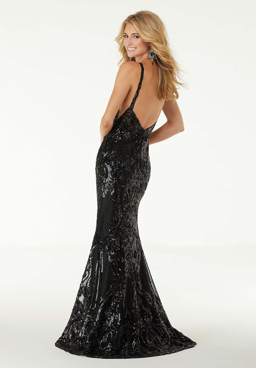 Morilee 45049 prom dress images.  Morilee 45049 is available in these colors: Black Multi, Black, Fuchsia.