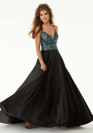 Morilee 45050 prom dress images.  Morilee 45050 is available in these colors: Black Turquoise, Black Pink.