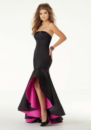 Morilee 45051 prom dress images.  Morilee 45051 is available in these colors: Black Hot Pink, Black Royal.