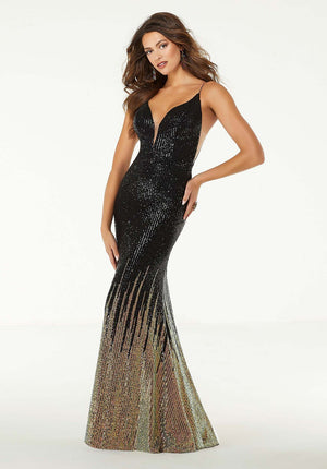Morilee 45053 prom dress images.  Morilee 45053 is available in these colors: Black Multi.