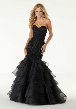 Morilee 45055 prom dress images.  Morilee 45055 is available in these colors: Black, Champagne Multi.