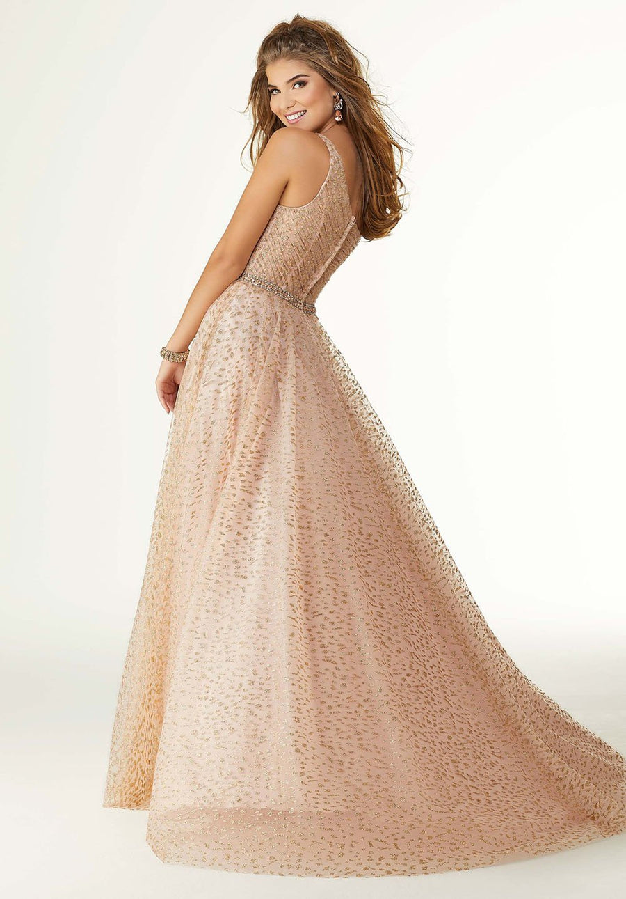 Morilee 45058 prom dress images.  Morilee 45058 is available in these colors: Blush Rose Gold, Black.
