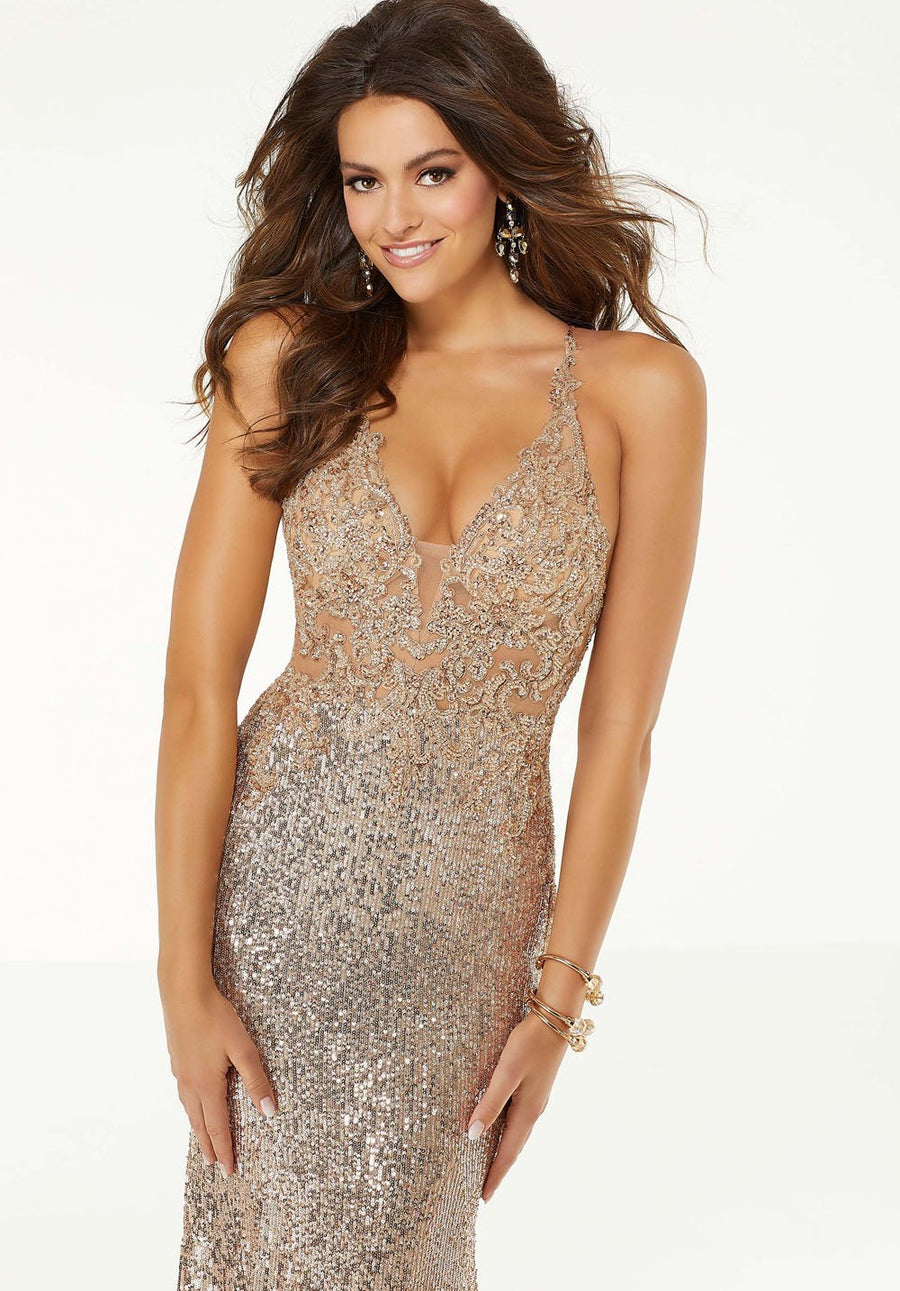 Morilee 45059 prom dress images.  Morilee 45059 is available in these colors: Rose Gold, Pink.